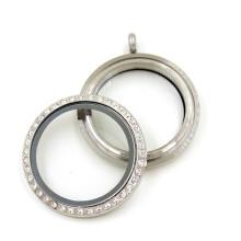 Fashion 30mm Silver Round Floating Glass Crystal Locket