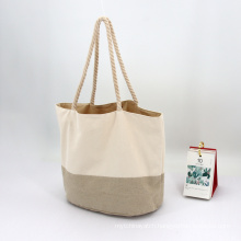 Hot Selling Cotton Linen Canvas Splicing Large Custom Shopping Bag Women Tote Bag