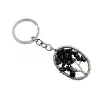 Обернутый проволокой Lucky tree Pendant Натуральный чип Черный брелок Onyx Овальная форма Полудрагоценный камень Цепочка брелка для ключей