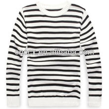 PK17ST234 latest design black and white striped sweater shirts for men