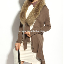 16STC8094 cashmere wool knit long open cardigan with fur collar