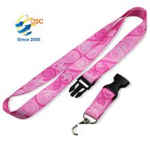 Pink Color Polyester Ribbon Dye Heat Transfer Sublimation Lanyard