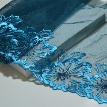 Bordado de encaje con estampado floral azul de alta calidad