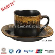 Hot Selling Black Brown Reactive Glaze Dinnerware Ceramic Teapot Cup And Saucer/Moroccan Tea Set/Vintage Tea Set Coffee