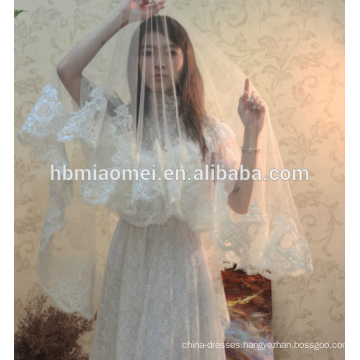 Hot sell long design lace trim wedding veil
