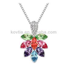 A árvore da vida colar de pingente de platina tira de correntes colar colar de cristal colorido da folha