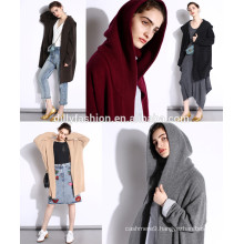 Latest knitted long cashmere pocket hoodie cardigan sweater womens coat with hat