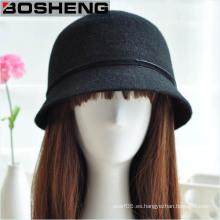 Vintage mujeres cubo de fieltro Fedora Felt lana Bowler Brim Hat