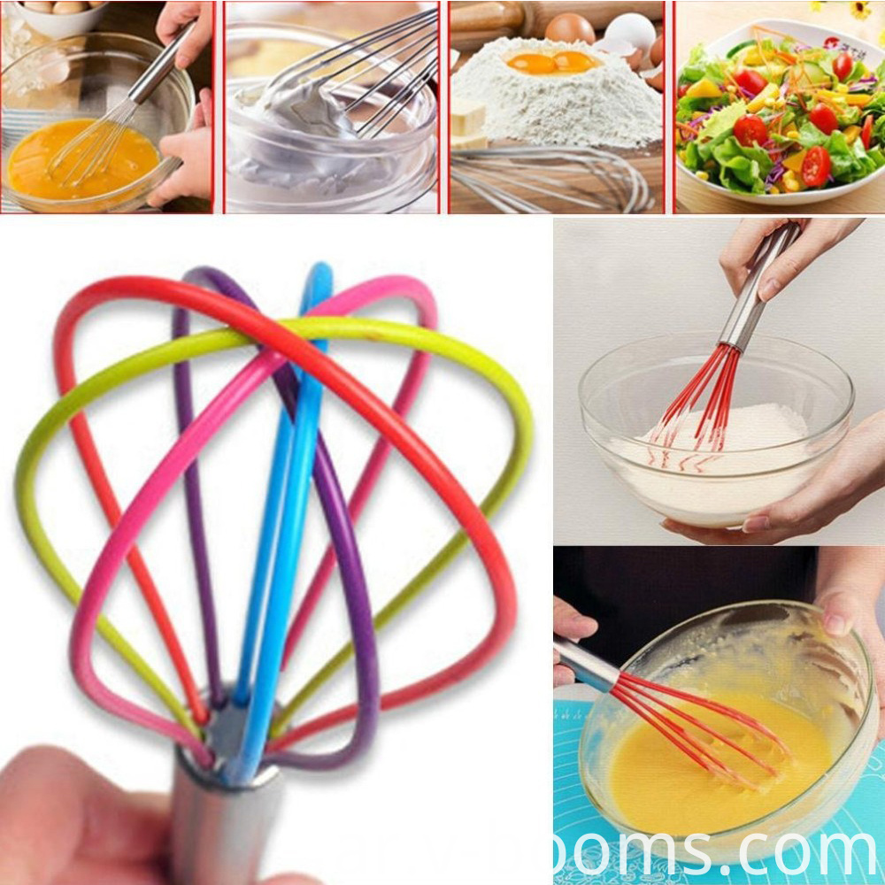 Manual Kitchen Gadget Silicone Egg Whisk