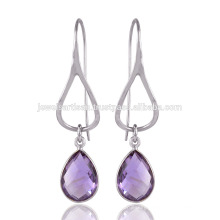 925 Sterling Silver and Amethyst Drop Earring