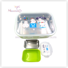 PP Silicone Stainless Steel Lunch Box with Lock (800ml)