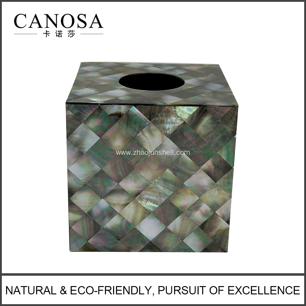 Bathroom Accessory Black Mother of Pearl Tissue Box