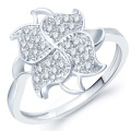 Big Flower CZ Diamond 925 Sterling Silver Ring Jewelry