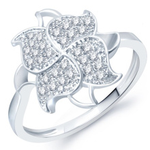Micro Pave Setting Flower 925 Sterling Silver Ring Jewelry