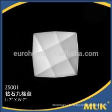 factry direct sale rectangle white 7size square design ceramic plates