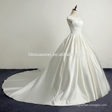 Bag shoulder soft lace satin long tow Pontoon wedding dress 2017