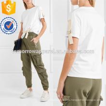Отделкой Белый хлопок-Джерси футболки Производство Оптовая продажа женской одежды (TA4113B)