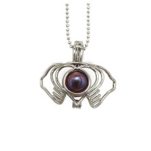 Silver Plated Plam Freshwater Pearl Pendant Cage