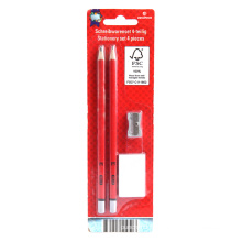 Two pencils with eraser and sharpener set
