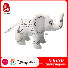 Painting Plush Toy Soft Stuffed Elephant Can Be Painted