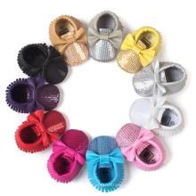 11 color zapatos de bebé bowknot y lentejuelas antideslizantes mocasines para niños pequeños