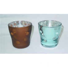 Plating Spray Castiçal de vidro colorido para decoração de casa