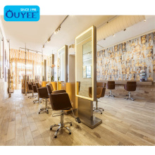 Popular Furniture Beauty Hair Salon Counter Custom Beauty Mirror Station Barbershop
