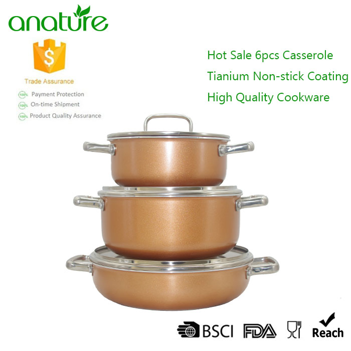 6 pcs Titanium Pressed Nonstick Casserole Set