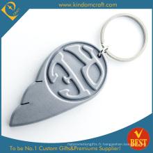 Porte-clés en PVC souple en caoutchouc bon marché promotionnel gris (LN-0192)