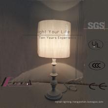 White LED Fabric European Hotel Table Lamp