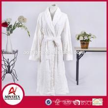 neues Design weiße Blume Schleife Schnitt Flanell Fleece Bademantel Nachtwäsche