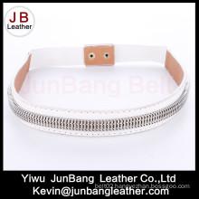 White Elastic Leather Classic Fashion Belt
