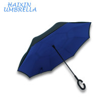 Excellent Material New Style Custom Logo Printed Double Layer Wholesale Reverse Folding Umbrella With Magic C handle for two