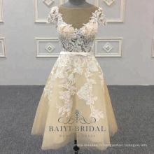 Robe de demoiselle d'honneur sexy crème pas cher Mini robe de mariée courte en dentelle