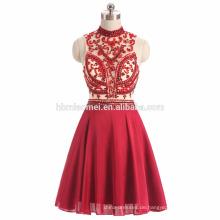 2017 ins heißen Verkauf sexy durchschauen rote Farbe schweren Perlen Abendkleid Guangzhou