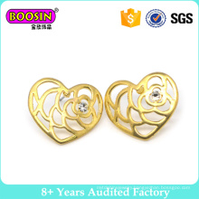 Factory New Arrival Gold Plated Hollow Heart Fashion Earring