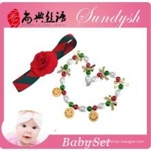 Wholesale Christmas Chunky Necklace And Baby Girl Hairband Set