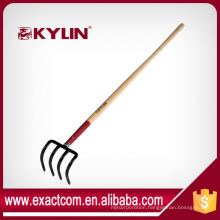 Professional Garden Carbon Fork Four Prong Fork With Wooden Handle
