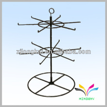 Negro 2 niveles 16pegs spinner contador mostrador de alambre estante de metal