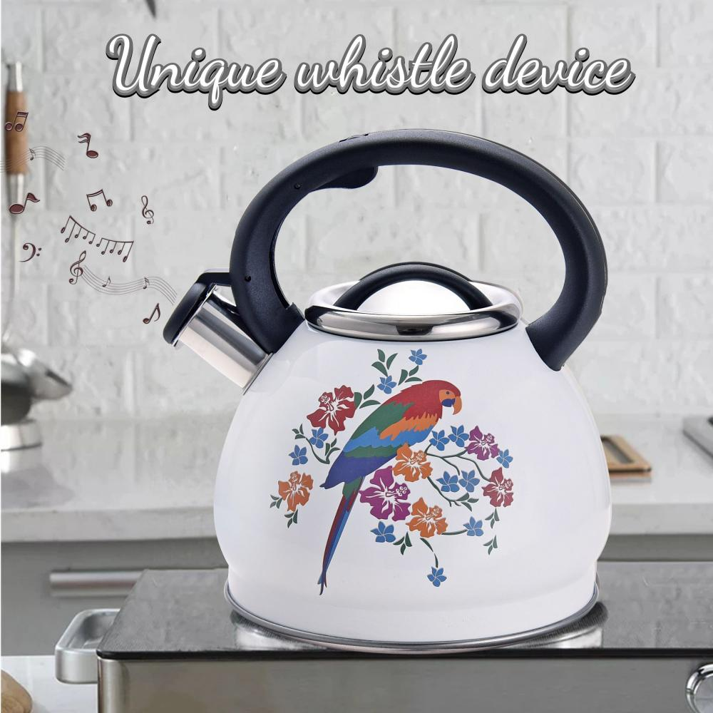 White Bird Pattern Stainless Steel Whistling Teapot