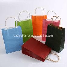 Impresión en color Manijas trenzadas Bolsas de papel Kraft
