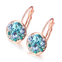 Fashion Gold Plated Crech Drill Women Earrings Rose Gold Plated Women Earrings Zinc Alloy Many Color Earrings