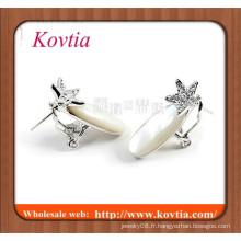 Vente en gros de bijoux à la mode en or blanc plaqué plat backs boucles d'oreille en opale australien