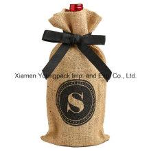 Cierre de la cinta Promocional Natural Jute Burlap Wine Gift Bag
