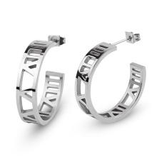 Elegant Ladies Silver Color Stainless Steel Roman Numerals Hoop Stud Earring