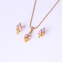 61737 Newest colourful romantic fashion jewelry gold plated earring and pendant sets