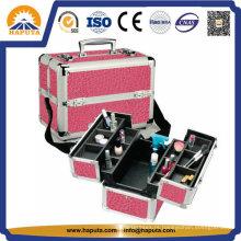 Caixa de organizador multifuncional de maquiagem para viagens de beleza em alumínio