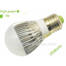 Haute puissance 100-240v 220v 270Lm E27 3W ampoule led avec CE, certificat RoHs