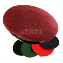 100% Wool Liner Cotton Yellow Red Military Beret Hats