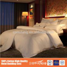 Juegos de camas planas de 100% algodón de raso de tamaño doble de satén de algodón